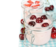 Yogurt with cherries Stock Photos
