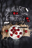 Yogurt with cherry Stock Photography