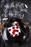Yogurt with cherry Royalty Free Stock Image