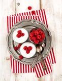 Yogurt with chia seeds and fresh raspberries. Yogurt with chia seeds and fresh raspberries for healthy breakfast Stock Photo