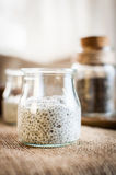 Yogurt and chia seeds in a glass on the table Royalty Free Stock Photo