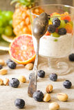 yogurt chia seeds with red oranges, blueberries and pistachios Royalty Free Stock Photos