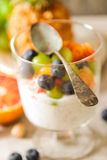 yogurt chia seeds with red oranges, blueberries and pistachios Royalty Free Stock Image