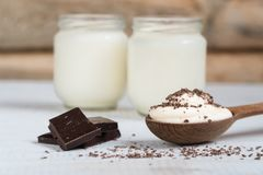 Yogurt with chocolate yogurt home. health food stock photo