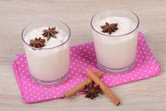 Yogurt with cinnamon Stock Image