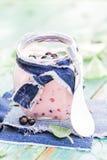 Yogurt cocktail black currant melissa. Yogurt cocktail with black currant and melissa royalty free stock image