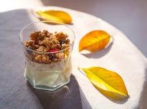 Yogurt con granola, le bacche secche in vetro e le foglie di giallo Fondo grigio con la tovaglia rustica di stile Spazio della co immagini stock libere da diritti