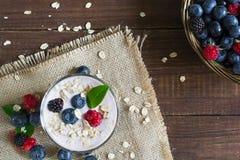 Yogurt con la farina d'avena o i muesli e bacche fresche in un vetro guar fotografie stock libere da diritti