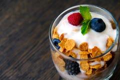 Yogurt con le bacche fresche Immagine Stock