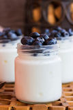 Yogurt con le bacche in un barattolo di vetro Fotografia Stock Libera da Diritti