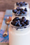 Yogurt con le bacche in un barattolo di vetro Immagini Stock