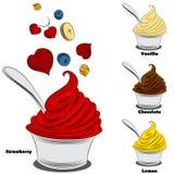 Yogurt congelado com coberturas ilustração do vetor