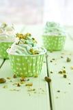 Yogurt congelato con il pistacchio fresco fotografia stock libera da diritti