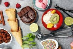 Yogurt congelato vaniglia o gelato molle e cono e frui della cialda Immagine Stock