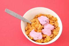 Yogurt on cornflakes Stock Images