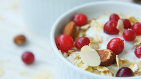 Yogurt with cranberries, almonds, oatmeal, almond flakes stock video footage