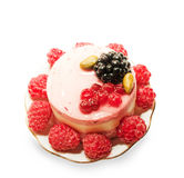Yogurt cranberries cake with raspberries Stock Photo