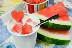 Yogurt creamy watermelon flavor Royalty Free Stock Photo