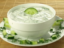 Yogurt and cucumber sauce Royalty Free Stock Photography
