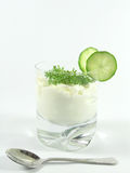 Yogurt with cucumber and watercress. Greek jogurt with cucumber and watercress royalty free stock images