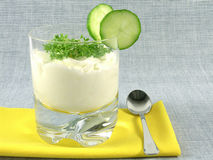 Yogurt with cucumber and watercress Stock Photography