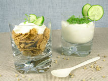 Yogurt with cucumber and watercress Stock Photos