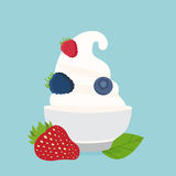 yogurt in the cup with berries vector design template Royalty Free Stock Photography