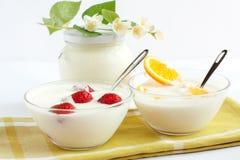 Yogurt della fragola e dell'arancio Fotografie Stock Libere da Diritti