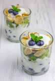 Yogurt dessert with blueberry, kiwi and cereals. In the glass Royalty Free Stock Photo