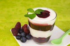 Yogurt dessert with cherry Royalty Free Stock Photo