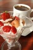 Yogurt dessert and coffee Royalty Free Stock Images