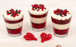 Yogurt dessert with cream, jell, raspberries and blueberries. Yogurt dessert with cream, jell, raspberries and blueberries on white wooden table Stock Images