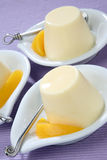 Yogurt dessert with fresh peeled peach Royalty Free Stock Photo
