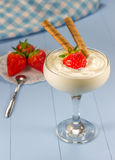 Yogurt dessert with fresh strawberry in a glass Royalty Free Stock Photography