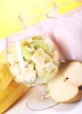 Yogurt dessert with fruits Stock Photos