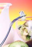 Yogurt dessert with fruits Royalty Free Stock Image
