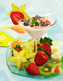 Yogurt dessert with fruits Royalty Free Stock Image