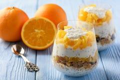 Yogurt dessert with muesli, chia seeds and oranges. Yogurt dessert with muesli, chia seeds and oranges stock photo