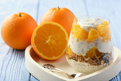 Yogurt dessert with muesli, chia seeds and oranges. Yogurt dessert with muesli, chia seeds and oranges royalty free stock photos