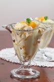 Yogurt dessert with peaches Royalty Free Stock Photo