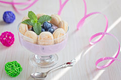 Yogurt dessert with Savoiardi or Ladyfingers biscuits and bluebe Stock Images
