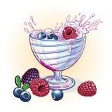 Yogurt di immagine con le bacche Fotografie Stock Libere da Diritti