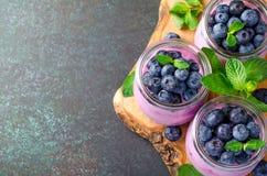 Yogurt di mirtillo con i mirtilli e la menta Fotografie Stock Libere da Diritti