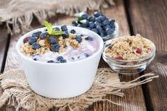 Yogurt di mirtillo fatto fresco Fotografie Stock Libere da Diritti