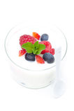 Yogurt with different fresh berries and mint in a glass beaker Stock Photography