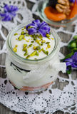 Yogurt with dried fruit Royalty Free Stock Images