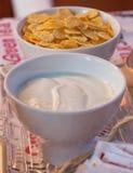 Yogurt e cereali fotografia stock