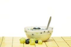Yogurt e frutta Fotografia Stock Libera da Diritti