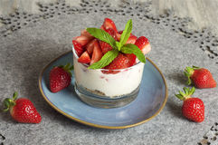 Yogurt e muesli della fragola Fotografie Stock