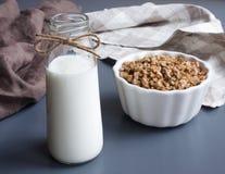 Yogurt e prima colazione beventi casalinghi di muesli immagine stock libera da diritti